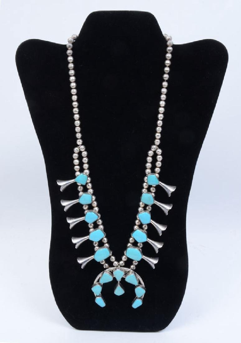 NAVAJO STERLING & TURQUOISE SQUASH BLOSSOM NECKLAC