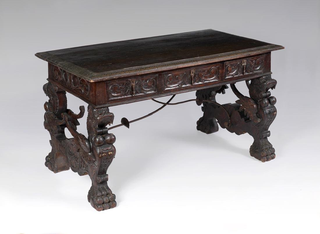 RENAISSANCE REVIVAL CARVED GRIFFIN LIBRARY TABLE
