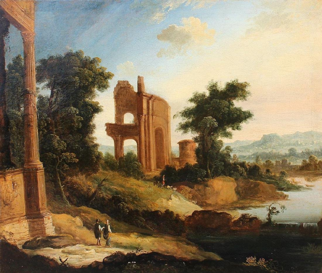 EARLY LANDSCAPE PAINTING WITH RUINS, PATEL?