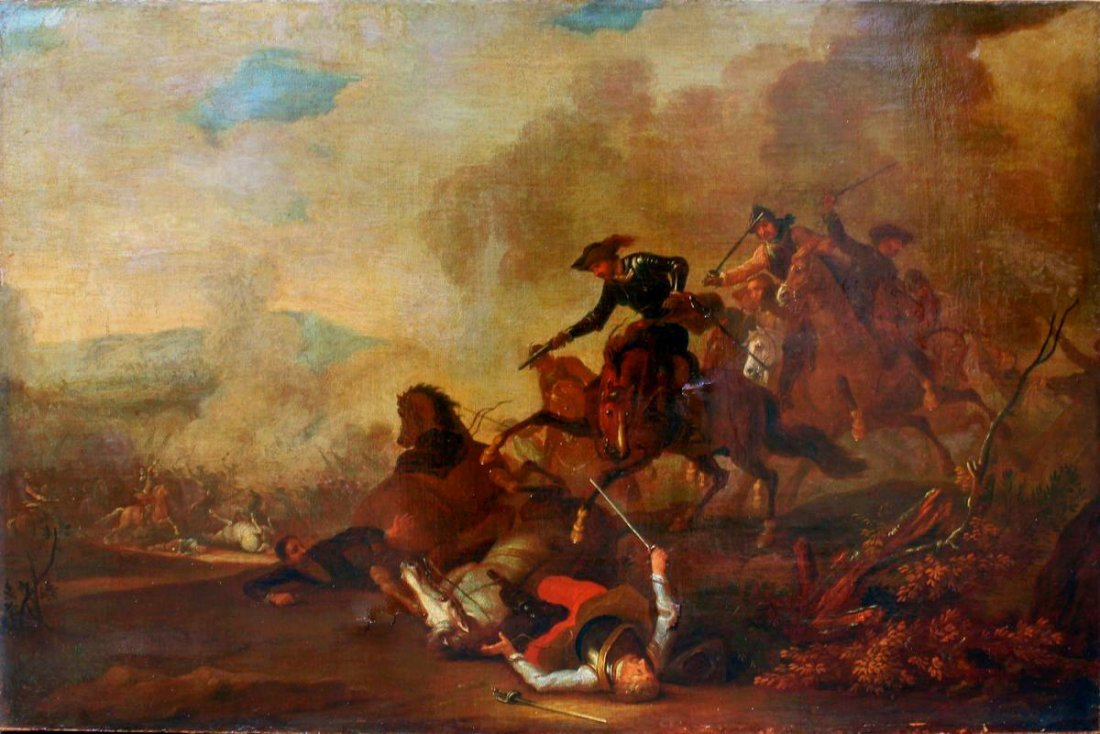 EARLY BATTLE SCENE PAINTING