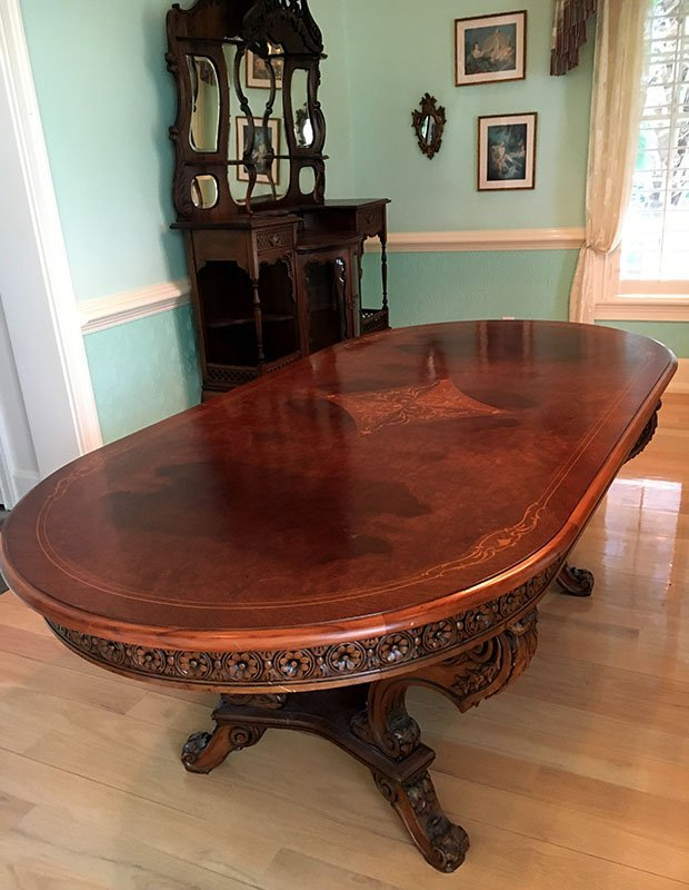 MARQUETRY INLAID DINING TABLE