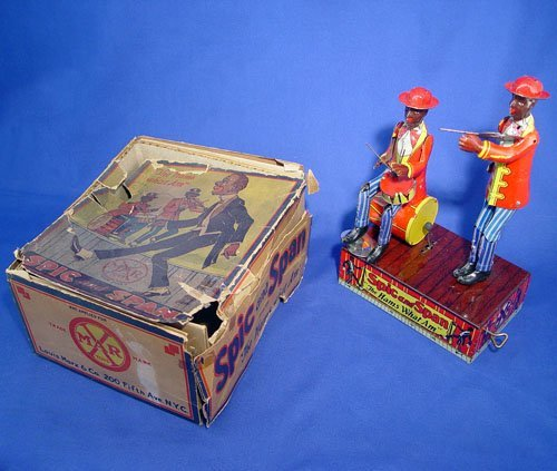 1002: MARX TIN WIND UP TOY SPIC & SPAN HAMS WHAT AM BOX