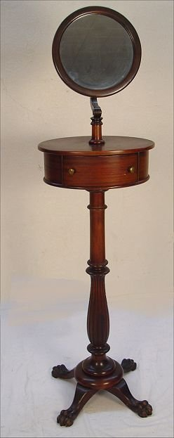 1007: CARVED PAW FOOT MAHOGANY SHAVING STAND