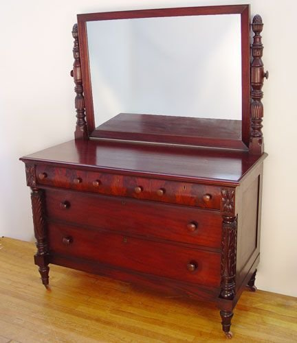 1015: CARVED MAHOGANY CHEST W MIRROR pineapple finials