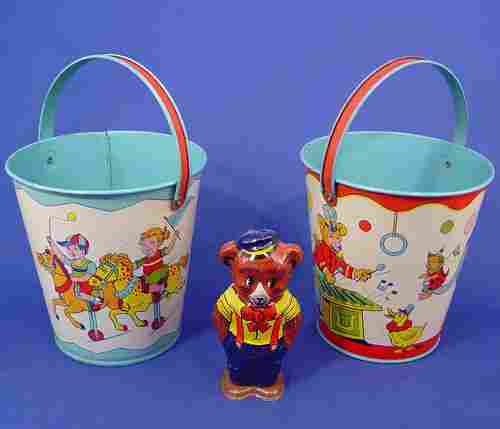 1246: 3 PC J. CHEIN TIN SAND PAILS BUCKETS WIND UP BEAR