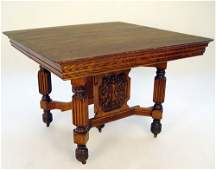 1263 LATE VICTORIAN CARVED GOLDEN OAK KITCHEN TABLE
