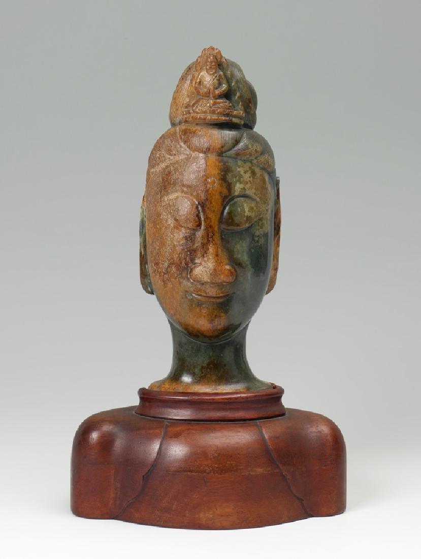 CARVED HETIAN JADE BUDDHA HEAD