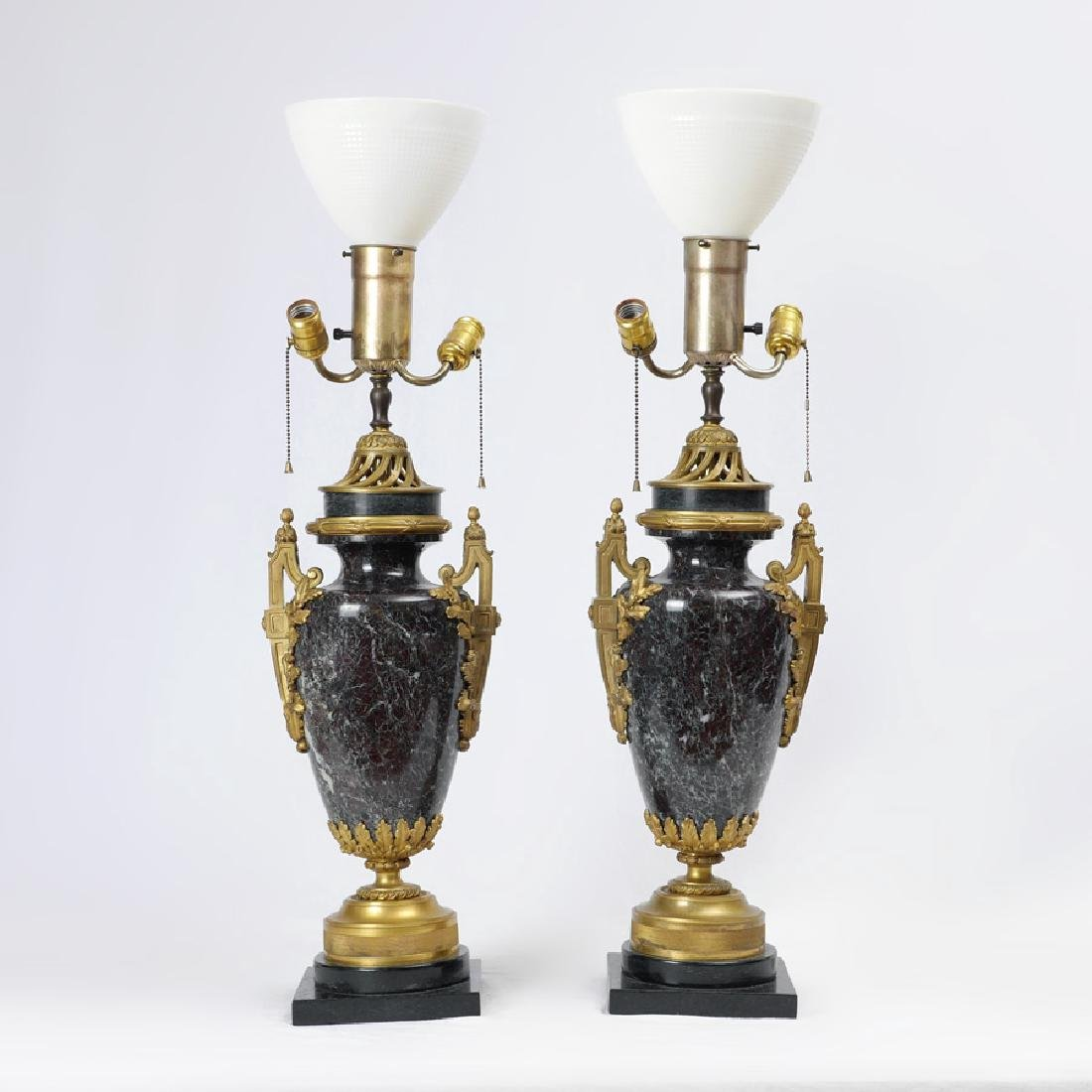 PAIR LOUIS XV STYLE GILT BRONZE MARBLE TABLE LAMPS