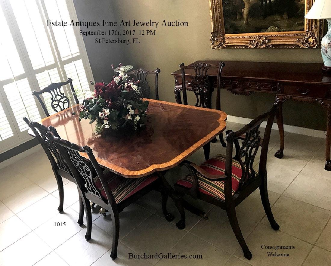 CHIPPENDALE BANDED DINING TABLE AND 10 CHAIRS