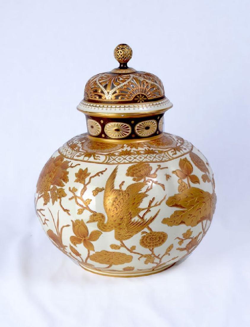 LARGE ROYAL CROWN DERBY GILT DECORATED GINGER JAR