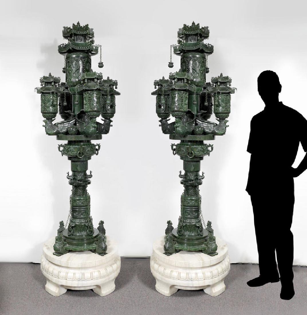 PAIR MONUMENTAL CARVED JADE TEMPLE GARDEN LANTERN