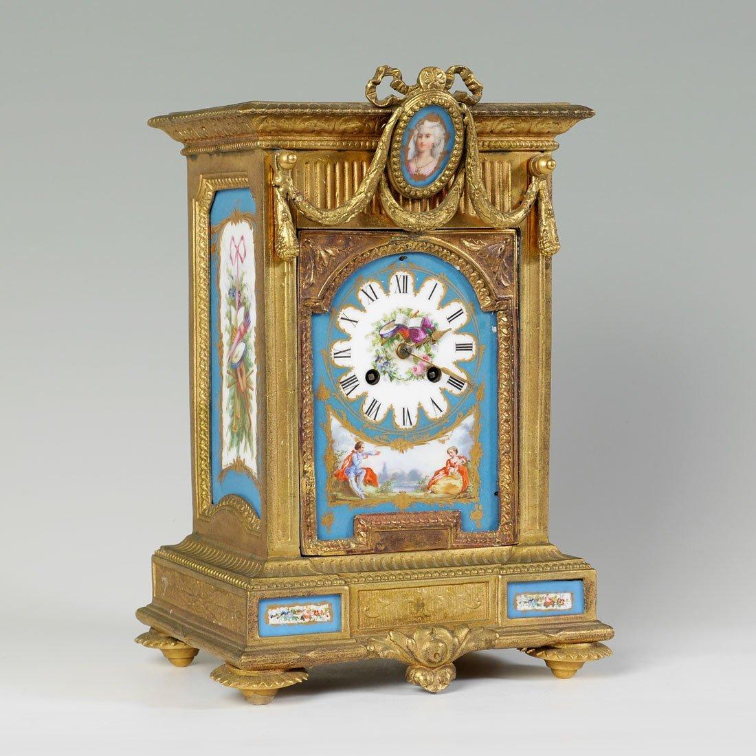 JOHN BENNETT BRONZE DORE & PORCELAIN TILE MANTLE CLOCK