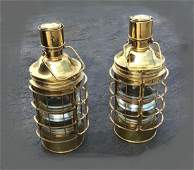PAIR LARGE OUVRARD  VILLARS BRASS SHIPS LANTERNS