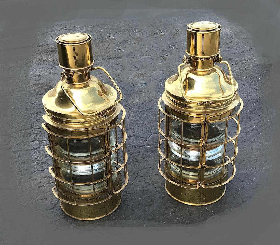 PAIR LARGE OUVRARD & VILLARS BRASS SHIPS LANTERNS