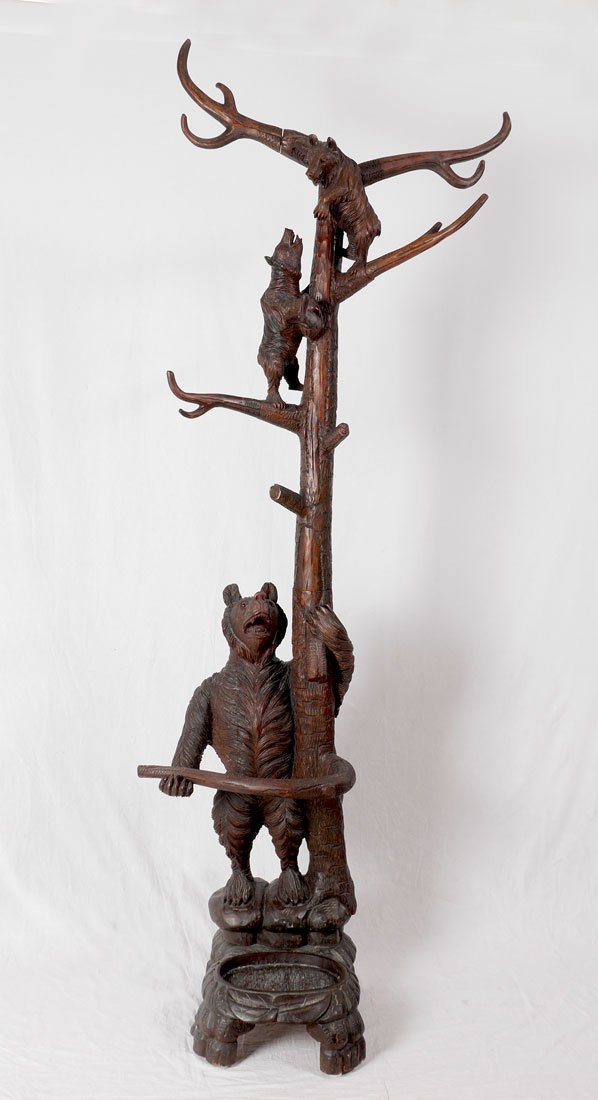 BLACK FOREST CARVED FIGURAL BEAR HALL TREE - 2