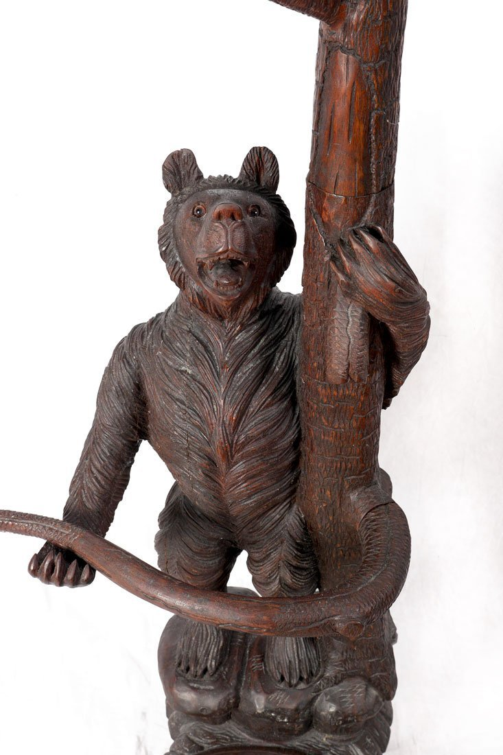BLACK FOREST CARVED FIGURAL BEAR HALL TREE - 3