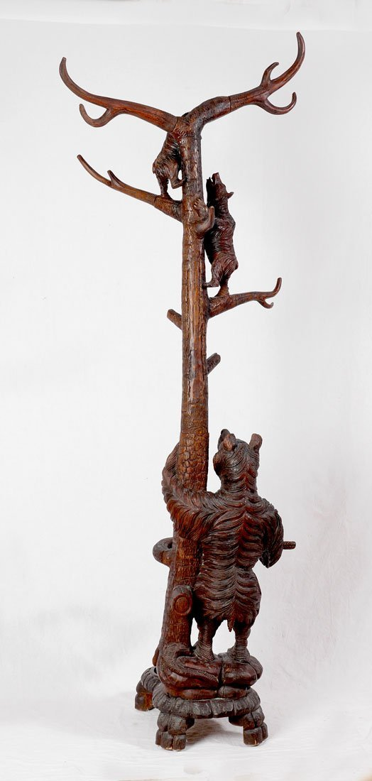 BLACK FOREST CARVED FIGURAL BEAR HALL TREE - 5