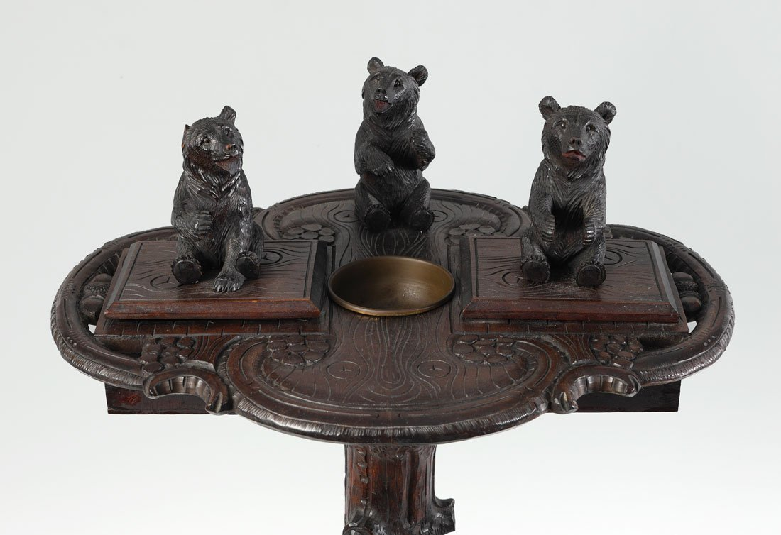 BLACK FOREST CARVED FIGURAL BEAR SMOKING STAND - 2