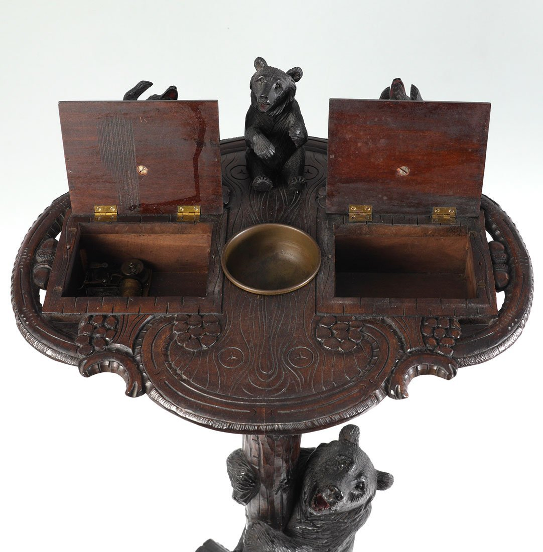 BLACK FOREST CARVED FIGURAL BEAR SMOKING STAND - 3