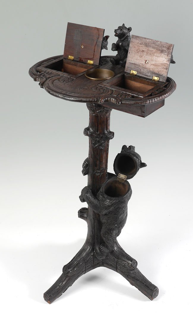 BLACK FOREST CARVED FIGURAL BEAR SMOKING STAND - 5
