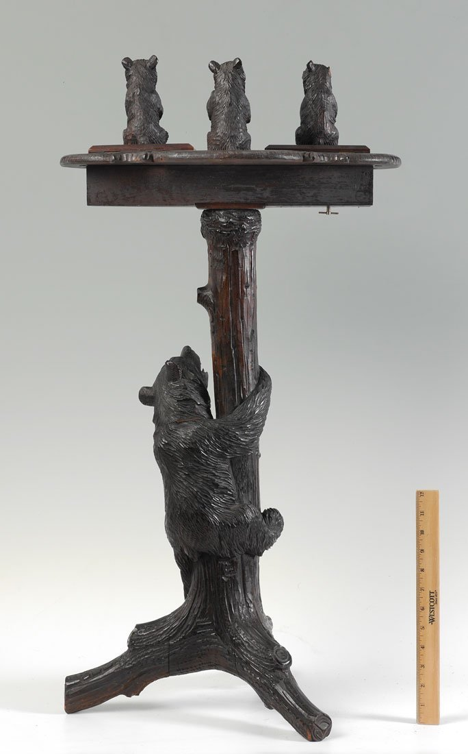 BLACK FOREST CARVED FIGURAL BEAR SMOKING STAND - 6