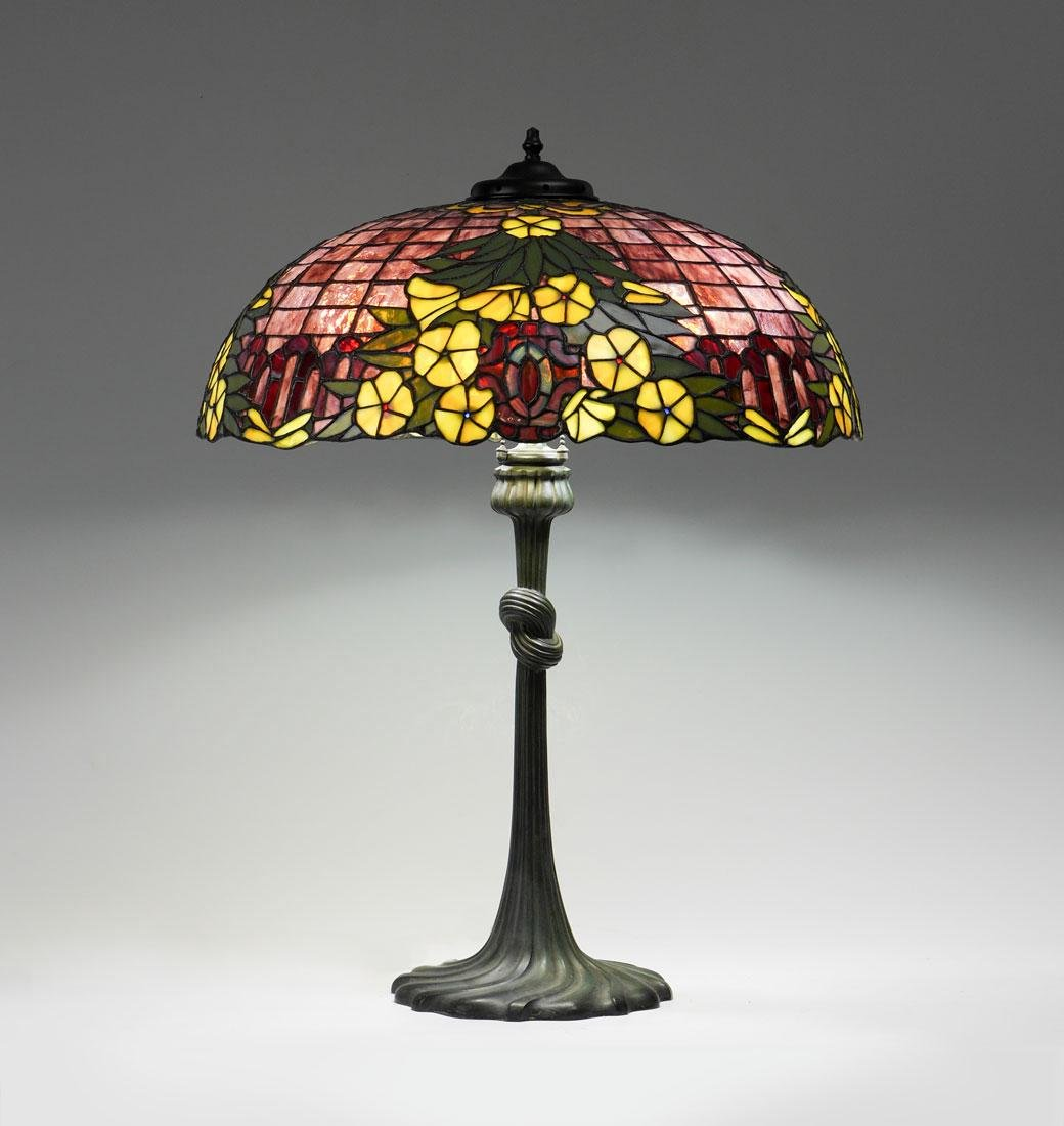 A NICE GORHAM FLORAL LEADED GLASS LAMP