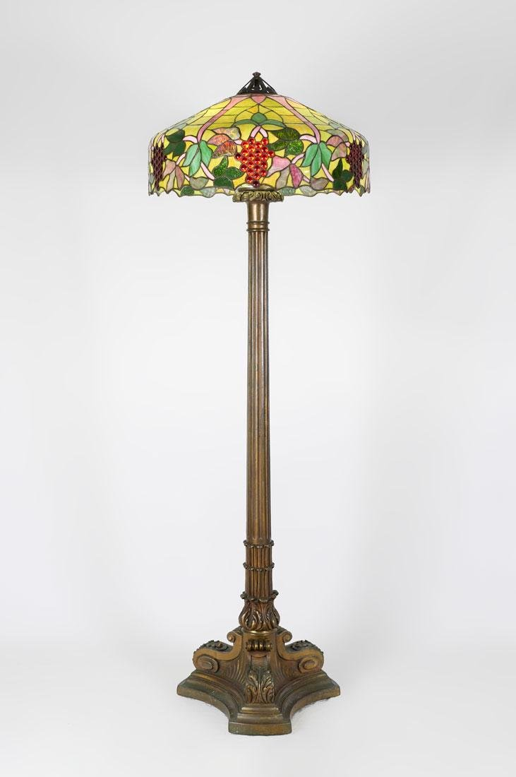 HANDEL QUALITY LEADED GLASS FLOOR LAMP