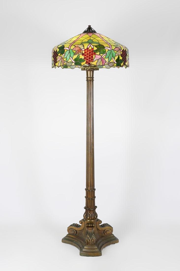 HANDEL QUALITY LEADED GLASS FLOOR LAMP