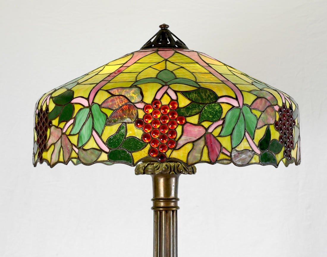 HANDEL QUALITY LEADED GLASS FLOOR LAMP - 2