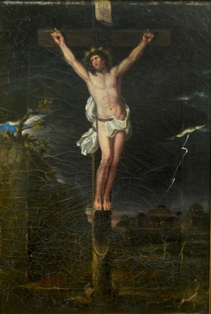 EARLY PAINTING OF CHRIST ON THE CROSS