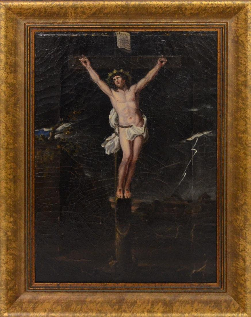 EARLY PAINTING OF CHRIST ON THE CROSS - 2