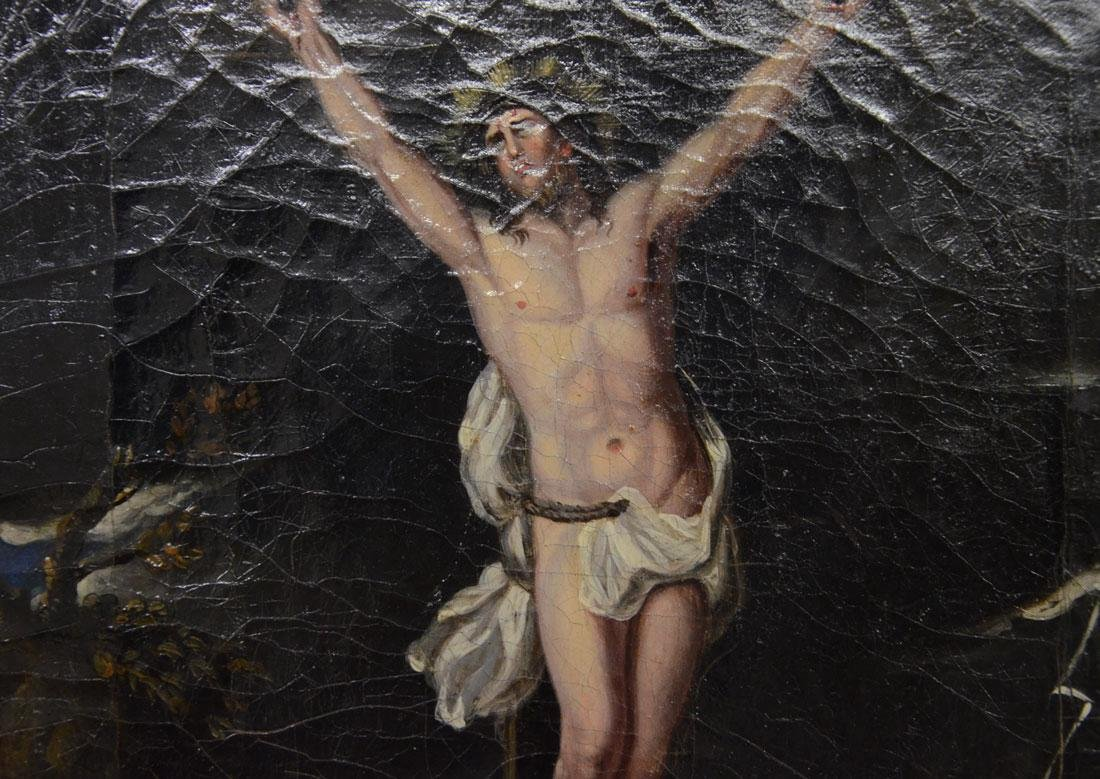 EARLY PAINTING OF CHRIST ON THE CROSS - 3