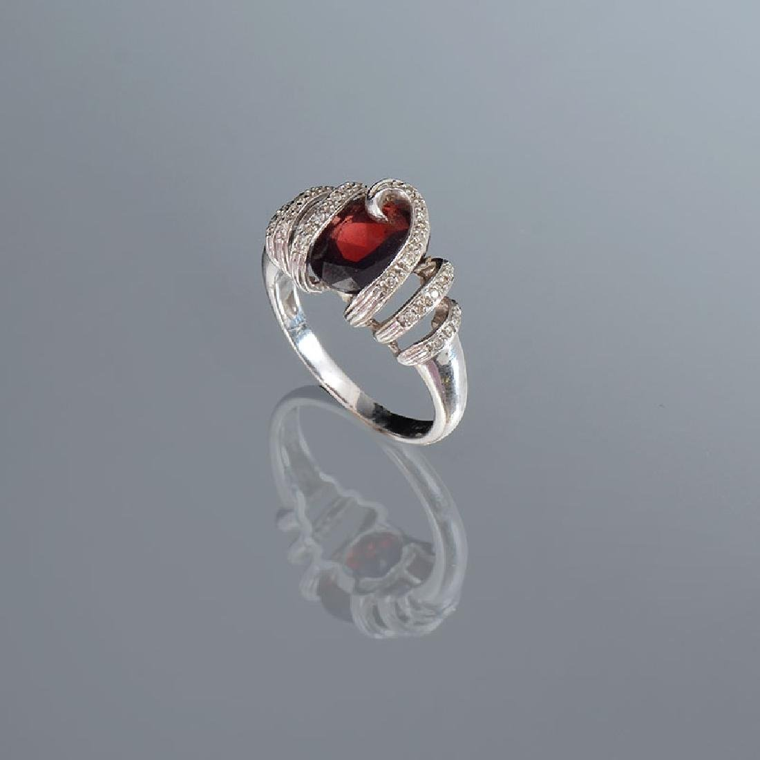 14K GARNET & DIAMOND RING - 2
