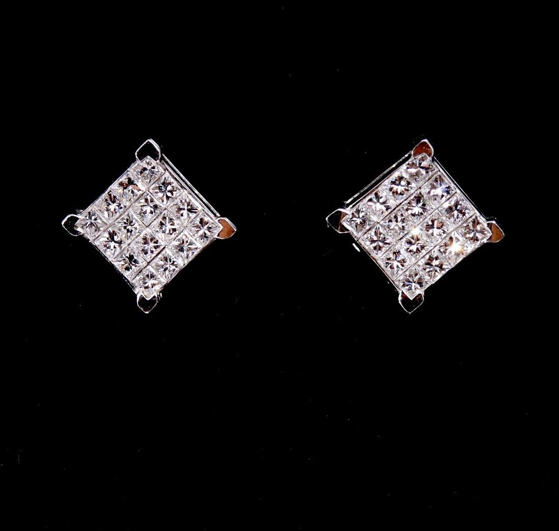 18K DESIGNER MARKED DIAMOND EAR STUDS