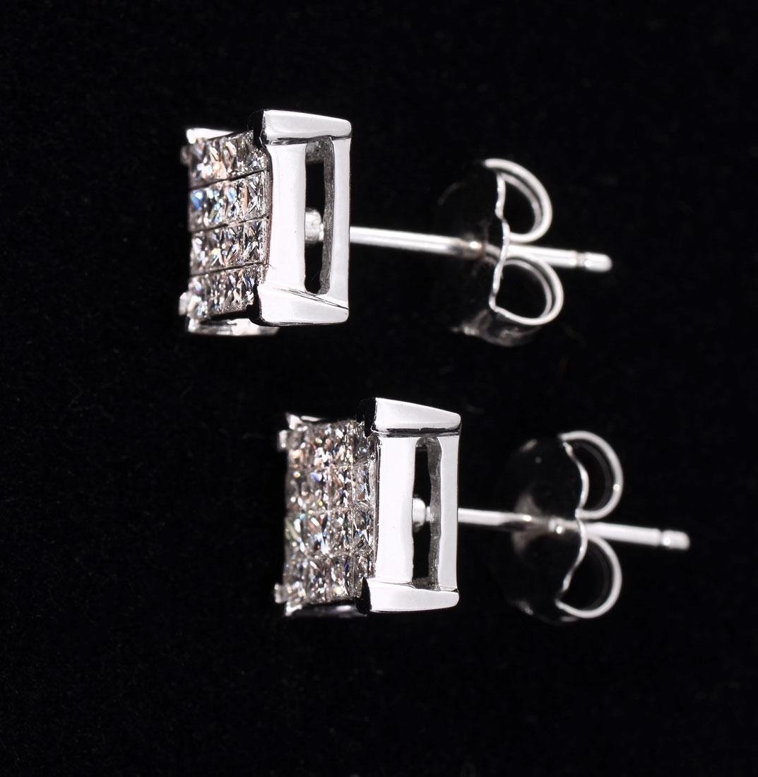 18K DESIGNER MARKED DIAMOND EAR STUDS - 2