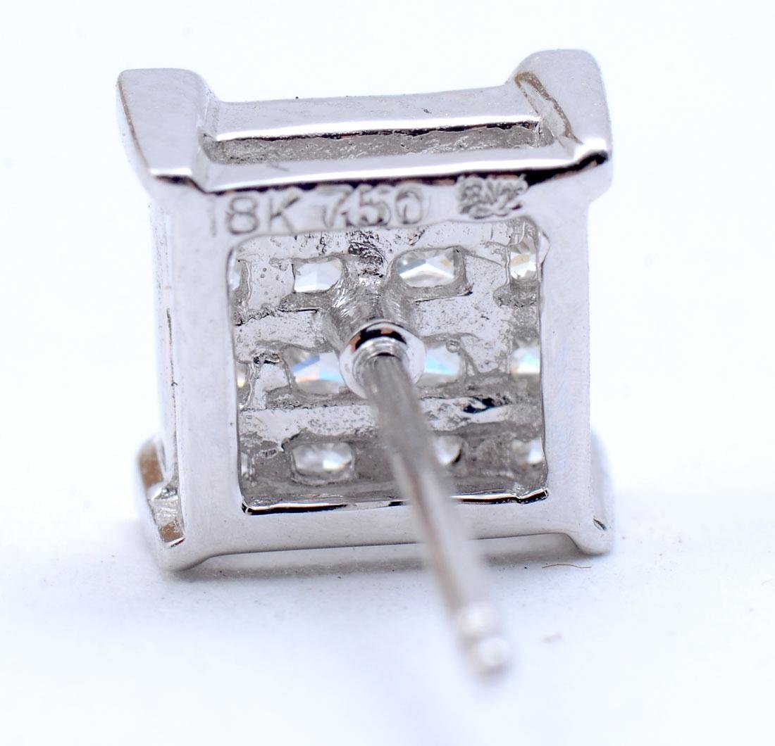 18K DESIGNER MARKED DIAMOND EAR STUDS - 3