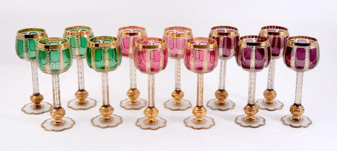 12 MOSER GILT DECORATED WINE STEMS