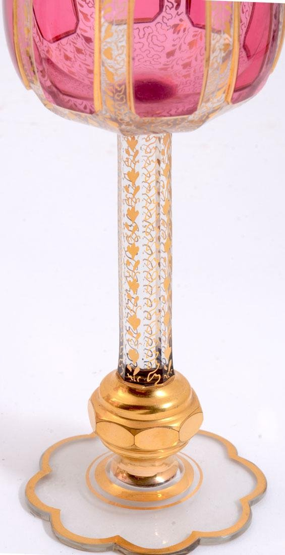 12 MOSER GILT DECORATED WINE STEMS - 3