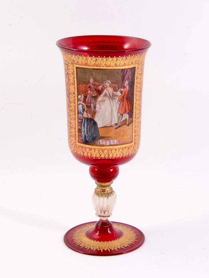 ITALIAN HAND PAINTED RUBY GLASS CHALICE