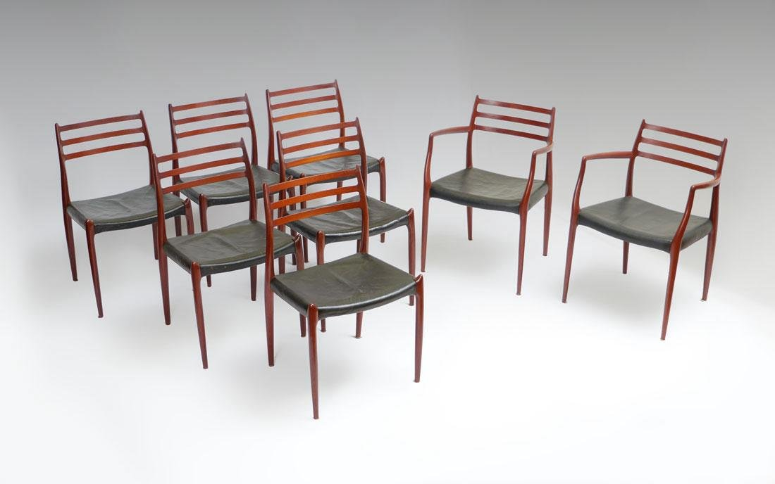 SET OF 8 NIELS MOLLER DANISH ARM AND SIDE CHAIRS