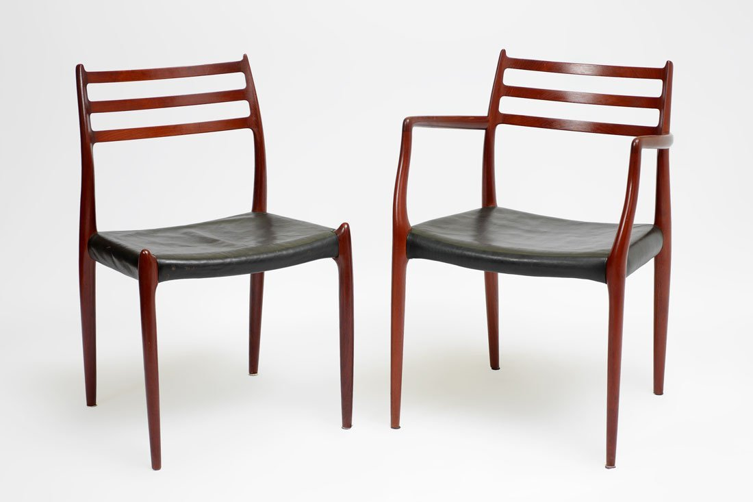 SET OF 8 NIELS MOLLER DANISH ARM AND SIDE CHAIRS - 2