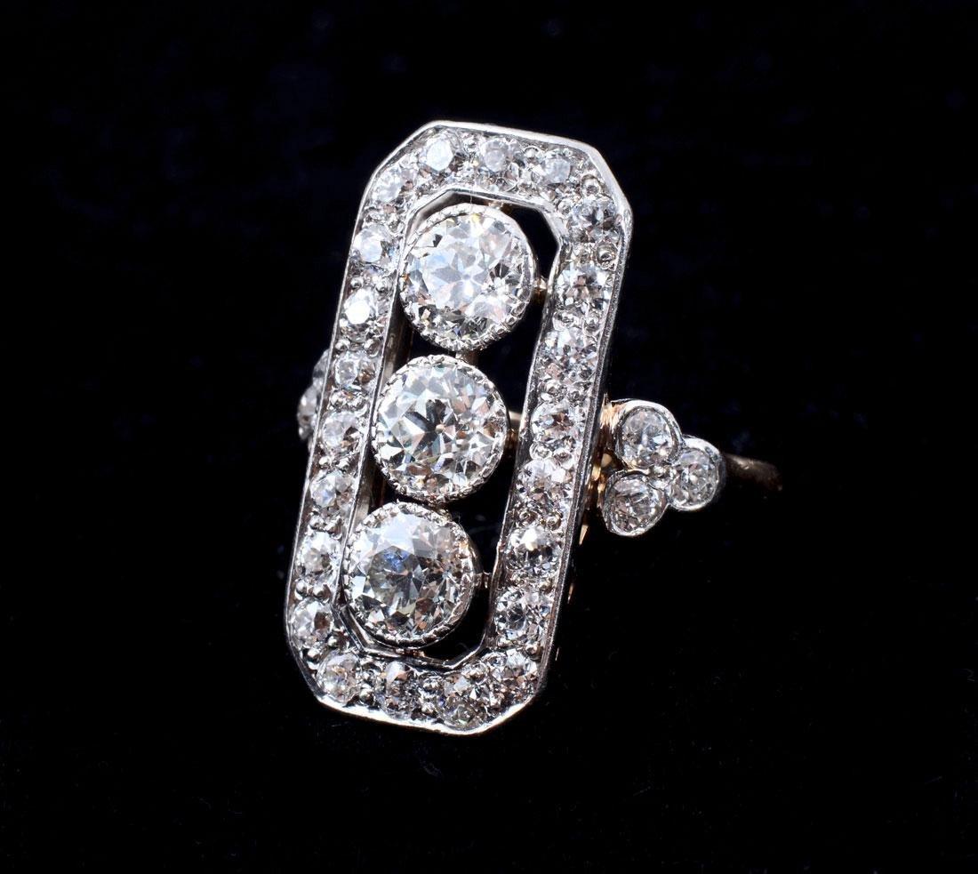 14K & PLATINUM ART DECO DIAMOND RING