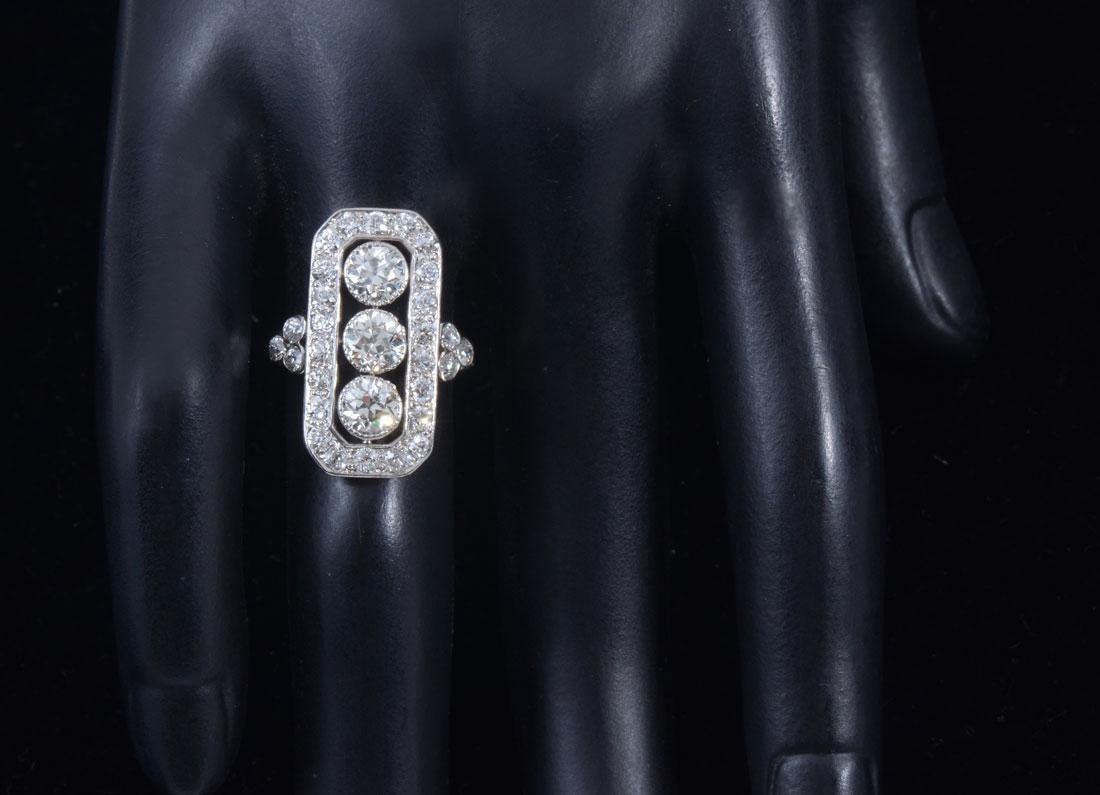 14K & PLATINUM ART DECO DIAMOND RING - 2