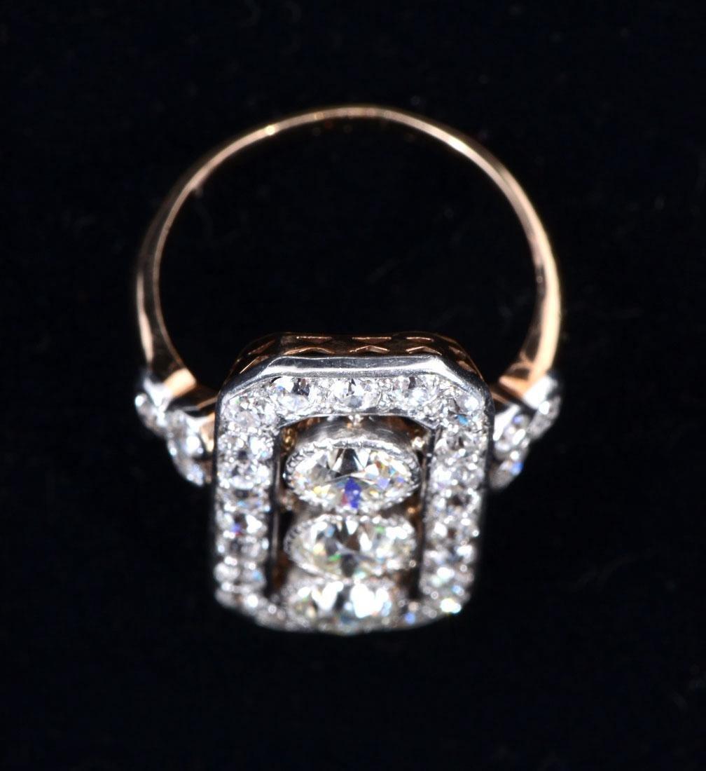 14K & PLATINUM ART DECO DIAMOND RING - 3