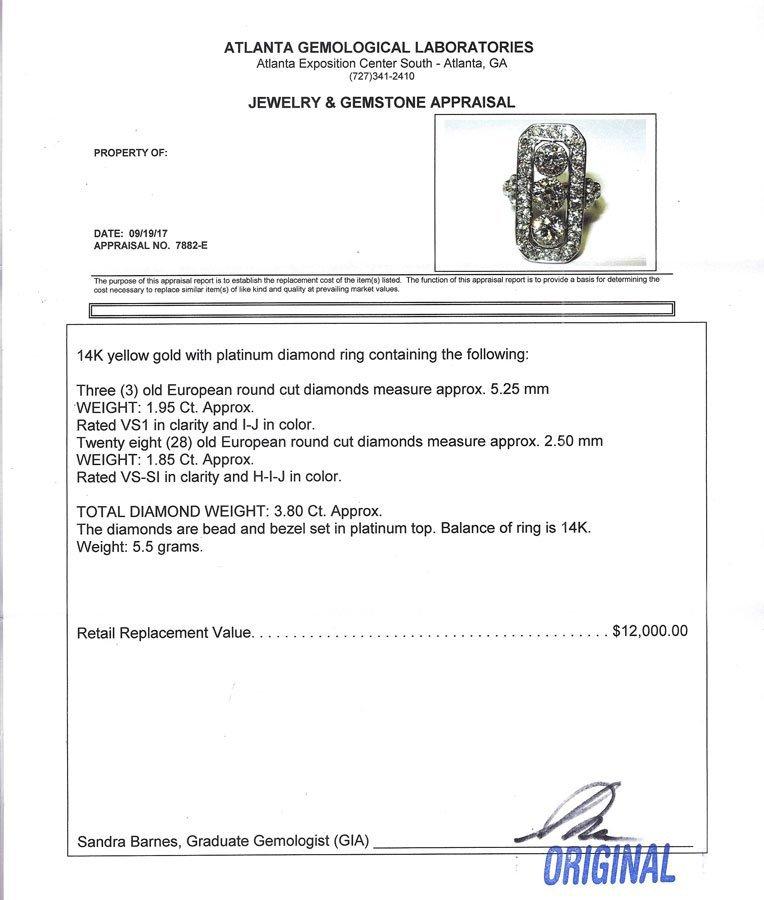 14K & PLATINUM ART DECO DIAMOND RING - 4