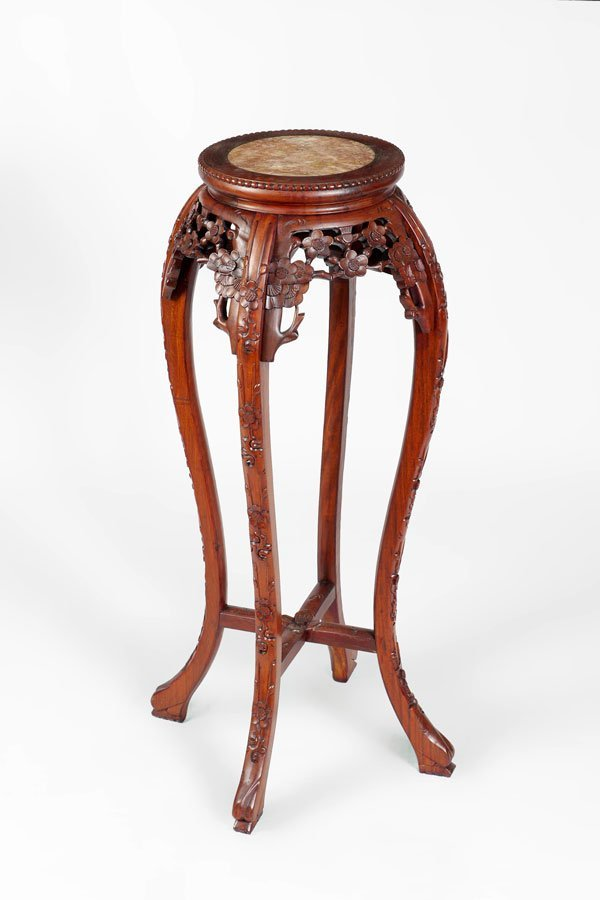 ORIENTAL CARVED MARBLE TOP PLANT STAND