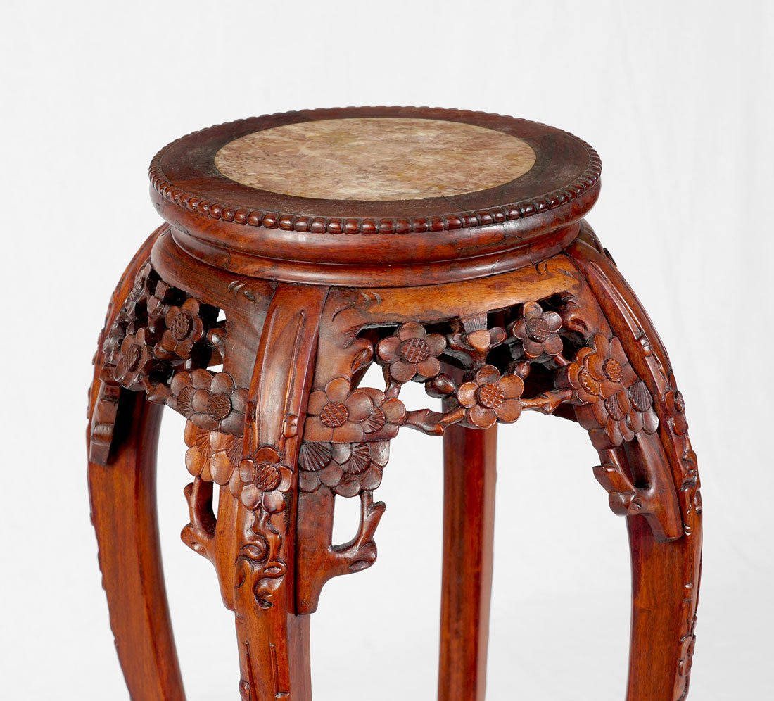 ORIENTAL CARVED MARBLE TOP PLANT STAND - 3