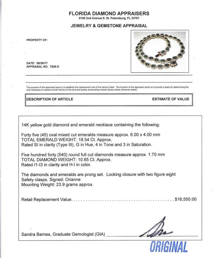 29.19CTW EMERALD & DIAMOND NECKLACE IN 14K - 4