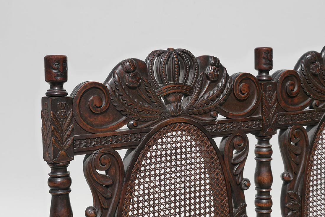 19TH CENTURY SCOTTISH CARVED THISTLE DESIGN BENCH - 4