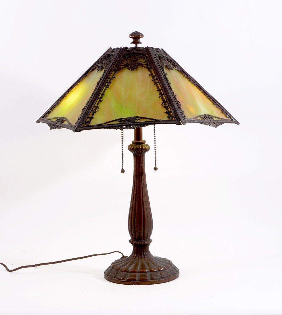 CAST IRON GREEN SLAG GLASS LAMP